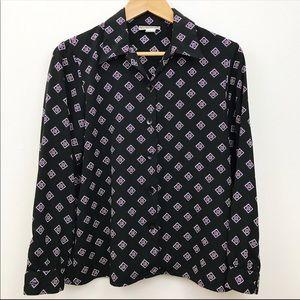 VINTAGENotations geometric button down blouse